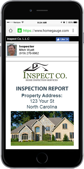 Smartphone showing a Inspect Co. sample home inspection report