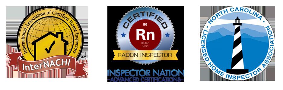 LOGOS: International Association of Certified Home Inspectors Member, Inspector Nation Certified Radon Inspector, North Carolina Licensed Home Inspector Association.