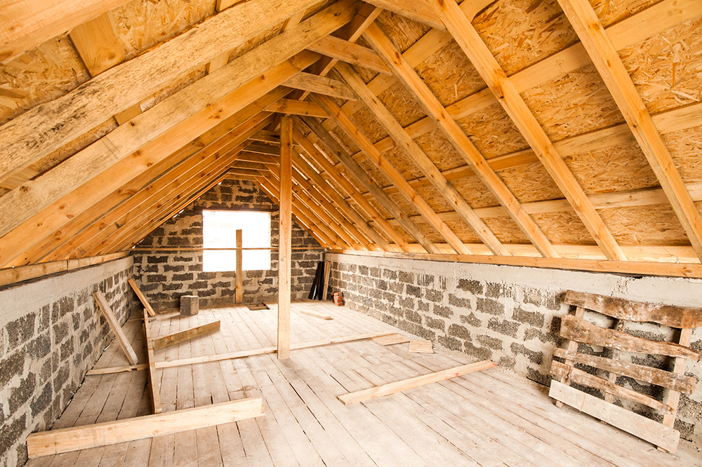Unfinished attic of a private house